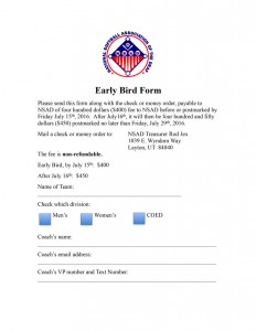 2016 Early Bird Team Entry Form
